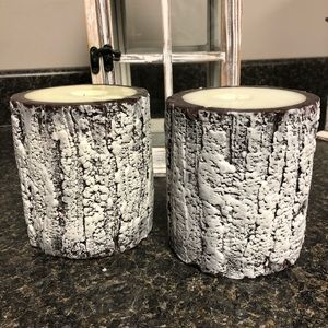 Hobby lobby frosted wood bark look candles 2